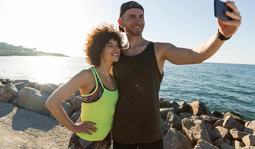 fitness couple selfie