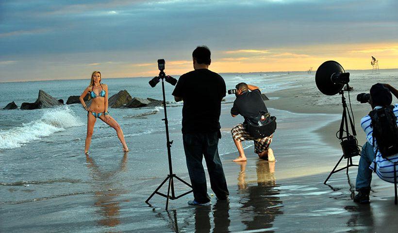 model posing on beach