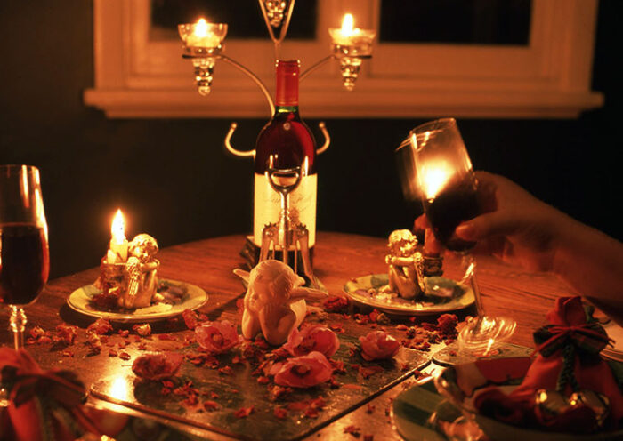 romantic dinner with wine and candles